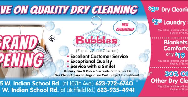Leaflet Design – Bubbles Dry Cleaing